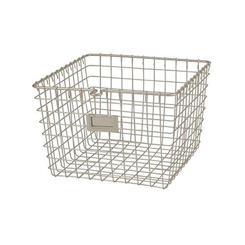 Spectrum Diversified Wire, Vintage Locker Basket Style, Rustic Farmhouse Chic Steel Storage for Closets, Pantry, Kitchen, Garage, Bathroom & More, Medium, Satin Nickel