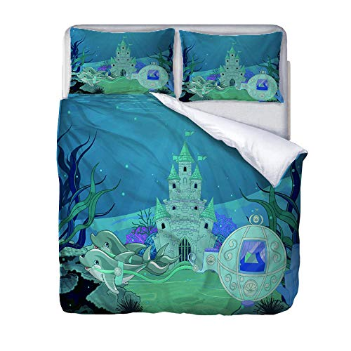 zzqxx Home Superking Duvet Cover Set Submarine castle Bed Set Quilt Cover with Zipper Soft 100% Polyester Includes 2 Pillow Cases 3D Printed Bedding for Boys Girls Adults 260x220cm