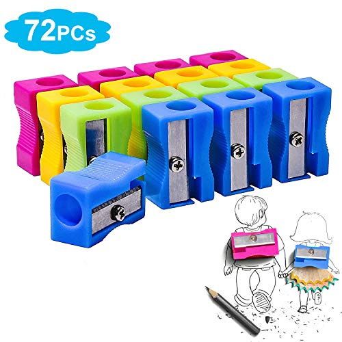 Morepack Mini Cute Plastic Manual Pencil Sharpener Random Color, Blue Rose, Yellow, Green (72 Pcs)