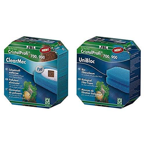 JBL Set mit Nitrit 60175, Nitrat und Phosphatentferner für e 700/701/900/901 ClearMec Plus Pad & UniBloc 60161 Bio-Filterschaum Einsatz für Aquarienfilter CristalProfi e 400/700/900