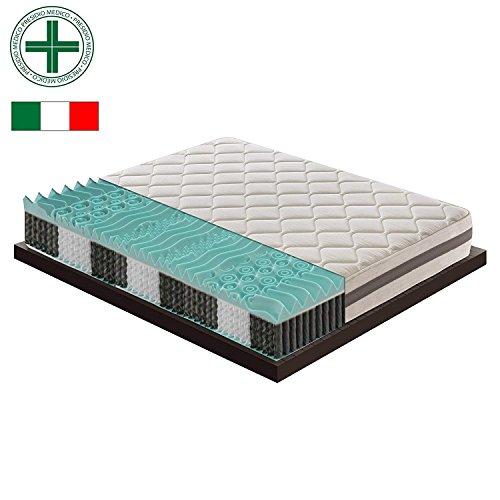Materassiedoghe - Materasso Piazza E Mezzo A Molle Indipendenti Insacchettate Con Memory A 9 Zone Differenziate Ortopedico - Ergonomico - Antibatterico - Antiacaro - 100% Made In Italy (120X190)