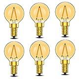 6er-Pack G40 Edison Vintage-1W LED-Glühlampe, 2200K Warmweiß,Mittel Schraube E14, getönter Glasbeschichtung,100 Lumen Ersetzt 10 Watt Glühlampen, CRI90,No Dimmbar