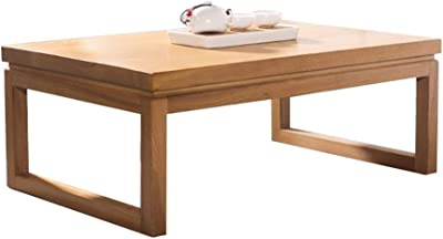 Rectangular Solid Wood Coffee Table Bay Window Table Small Coffee Table Japanese Low Table Bedside Lamp Table Laptop Table (Color : Beige, Size : 80 * 50 * 30cm)