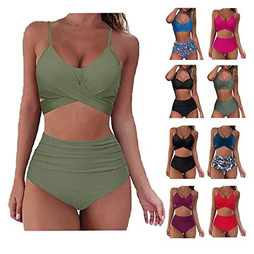 Damen Bikini Set Sommer Badeanzug mit Sport Strandkleidung Triangel Bikinihose -Sexy Bademode Strandwear Strandmode -Bikinioberteil High Waist Sportlich Bauch FüR Mä Dchen Teenager,Armeegrün,L