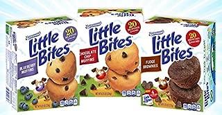 Entenmanns Little Bites Mini Muffins Variety Bundle: Blueberry, Chocolate Chip, Fudge Combo.