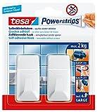 tesa Powerstrips Haken Large ECKIG - Selbstklebender Wandhaken für Glas, Kacheln, Holz, Kunststoff und andere Untergründe - Weiß