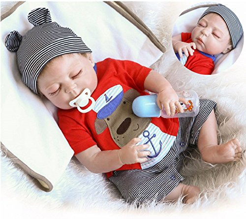 NPK Realistic Reborn Baby Dolls Silicone Full Body Boy 22 inchs 55 cm Anatomically Correct Washable Toy Doll Handmade Sleeping Prime Gift Set for Ages 3+