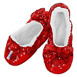 Snoozies are not socks and they're not slippers - they're a crossover between the two and that's why we call them foot coverings! Christmas Red Bling Snoozies have a sequin-covered exterior and are lined with a super-soft warm Sherpa fleece that is l...
