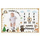 WERNNSAI Wald Meilenstein Decke -150 x 100cm Fleece Babydecke Fotografie Hintergrund wöchentlich monatlich Säugling Neugeborenes Geburtstag Baby Shower Geschenk