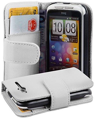 Cadorabo Funda Libro para HTC Wildfire S en Blanco Polar - Cubierta Proteccíon de Cuero Sintético Liso con Tarjetero y Función de Suporte - Etui Case Cover Carcasa