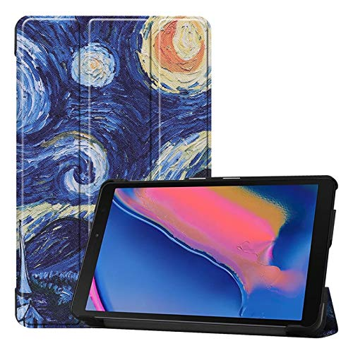simple and practical Custer Texture Starry Sky Pattern Colored Drawing Horizontal Flip Leather Case for Galaxy Tab A 8.0 (2019) P205 / P200, with Three-folding Holder,All buttons match