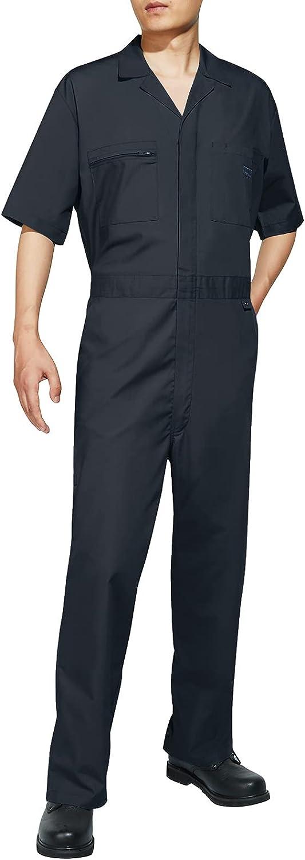 HISEA Men's Short Sleeve Coverall Stain & Wrinkle-Resistant Work Jumpsuit