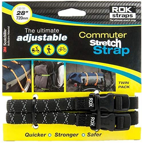 ROK Straps ROK Pendler Verstellbarer Gurt ROK332 – Schwarz reflektierend 30,5 cm – 71,1 cm – flach dehnbar – Doppelpack