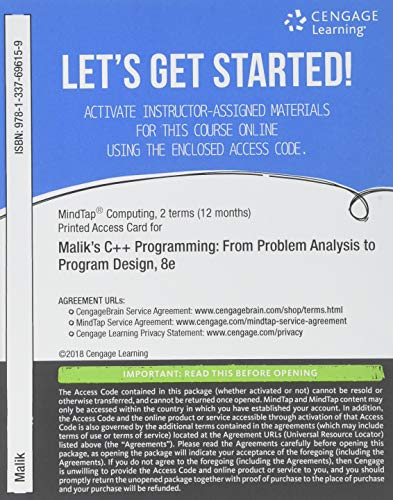 MindTap Computing, 2 terms (12 months) Printed Access Card for Malik's C++ Programming: From Problem Analysis to Program