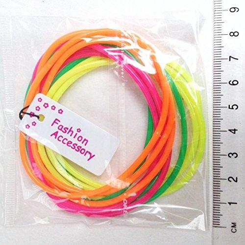 Inca Packungen mit 12 Neon Gummie Armbänder/Leuchtend Armreifen/Gummibänder - Groß Party Tasche Füller und 80s Jahre Maskenkostüm Zubehör - Grün/Orange/Pink, Grün/Orange/ Pink, Pack of 12