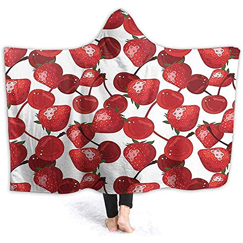 Henry Anthony 40X50 Zoll Hooded Throw Wrap Cherri Frühling Früchte Küche Picknick Bild Burdy Grün und Weiß Ultra Soft Plüsch gefüttert Freizeitbekleidung, Wir