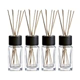 Clear Glass Diffuser Bottles with Natural Reed Sticks and Black Wood Caps (2X4.7 Inch)
