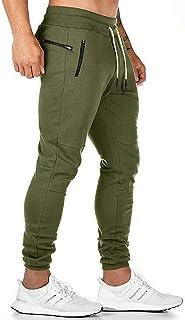 Yisism Men Gym Pants Jogger Elastic Workout Waist Athletic Zip Pockets Sweatpants