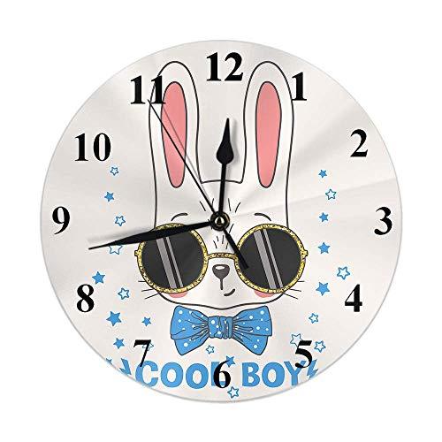 Reloj de conejo Cool Animal Easter Bunny Boy con gafas de sol lazo atado estrellas azules Reloj de pared redondo Slient Non Ticking Rústico Decoración para el hogar 10 pulgadas para cocina Baño Oficin