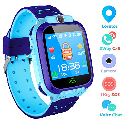 SZBXD Kids Smart Watches Phone, GPS Tracker Camera Touchscreen Smartwatch Games Flashlight SOS Alarm Clock Smart Wrist Watch Christmas Birthday Gifts for Girls Boys (Blue)
