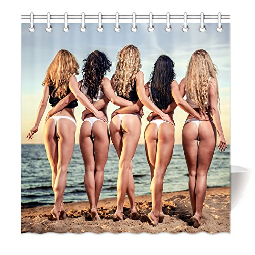 YISUMEI Hem Gewichte Vorhang Duschvorhang 180x200 cm Sexy Frau Frauen Strand Esel