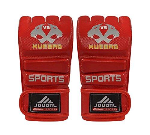 Blancho Adulte Fighting moitié Gants Finger/Gants de Boxe UFC, Rouge
