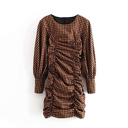 NVDKHXG Feestjurk Lantaarn Lange mouw Mini-jurken Vrouw Slanke schede Geruite jurk Damesmode O-hals Zonnejurk Gewaad