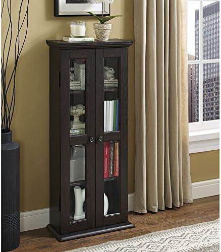 Walker Edison 4 Tier Shelf Living Room Storage Tall Bookshelf Cabinet Doors Home Office Tower product image