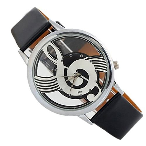 QHGstore Donna di quarzo analogico Hollow pelle Nota musicale di stile orologio da polso orologio casual nero