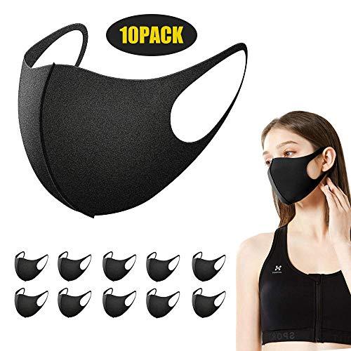 10 Stück Mundschutz Maske, Zorar Staub Gesichtsmaske, Fashion Unisex Face Masks, wiederverwendbare und waschbare Maske (Schwarz)