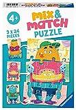 Ravensburger Puzzle, Monstruos Divertidos, Línea Mix & Match, Puzzles para Niños, Edad Recomendada 4+, Rompecabeza de Calidad