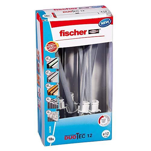fischer DUOTEC 12-Kippdübel zum Befestigen von Garderoben, Hängeschränken UVM. in Gipskarton-und Gipsfaserplatten-10 Art-Nr. 542590, 10 Stück