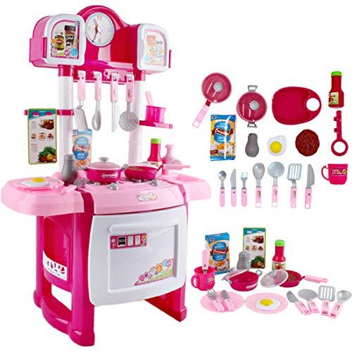 deAO Cocinita Mi Pequeño Chef con Características de Sonidos, Luces y Agua Cocina de Juguete para Principiantes Incluye Accesorios (Rosa)