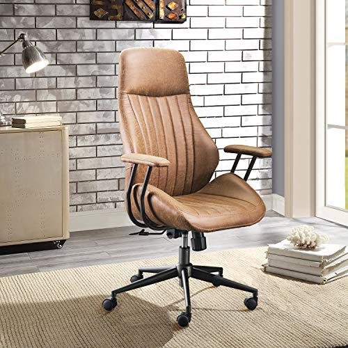 XIZZI Ergonomic Chair, Modern Computer Desk Chair,high Back Leathe Office Chair with Lumbar Support for Executive or Home Office (Brown 1)