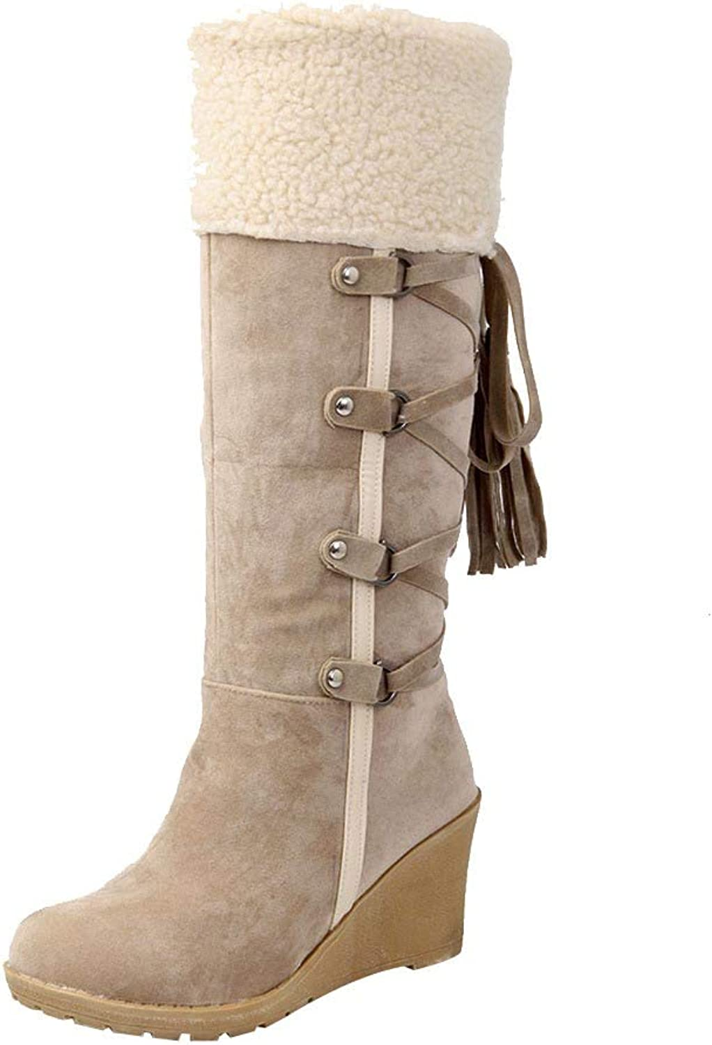 OWMEOT Women's Water Resistant Classic Leather Mid-Calf Snow Boots