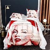 3pcs Duvet Cover Marilyn Monroe Digital Printing Quilt Cover Bedding Set Comforter Cover Duvet for All SeasonComforter 100% Polyester Microfiber Single Size