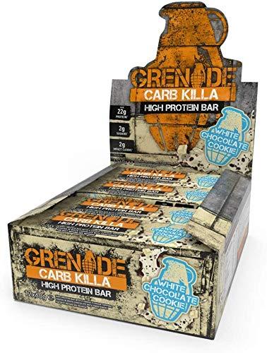 Grenade Carb Killa Barretta Proteica a Basso Contenuto di Carboidrati, White Chocolate Cookie, 12 x 60 g