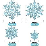 50 Stücke Kunststoff Funkeln Schneeflocken Ornamente für Weihnachten Dekoration, Verschiedene Größen (Blau Glitzer) - 4