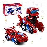 Highttoy Coche Transformers de Dinosaurio para Niños y Niñas 3-7 Años Regalos de Cumpleanos Juguete de Dinosaurio Eléctrico Figura de Coche de Dinosaurio Transformable con Luces y Sonido Rojo