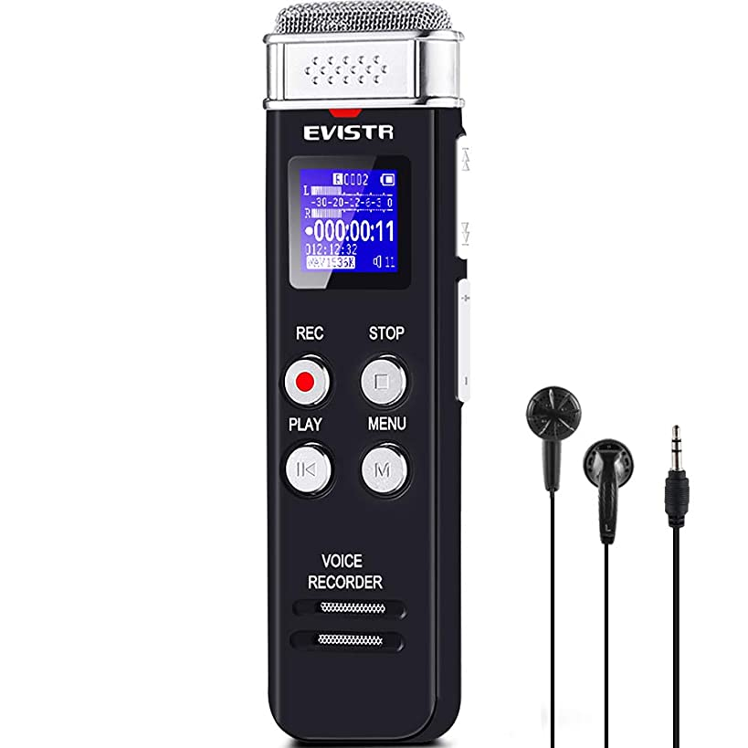 EVISTR 8GB Digital Voice Recorder Voice Activated Recorder with Playback - Upgraded Small Tape Recorder for Lectures, Meetings, Interviews, Mini Audio Recorder USB Charge, MP3