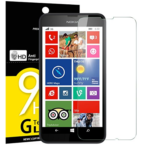 NEW'C 3 Stück, Schutzfolie Panzerglas für Nokia Microsoft Lumia 630, 635, Frei von Kratzern, 9H Festigkeit, HD Bildschirmschutzfolie, 0.33mm Ultra-klar, Ultrawiderstandsfähig