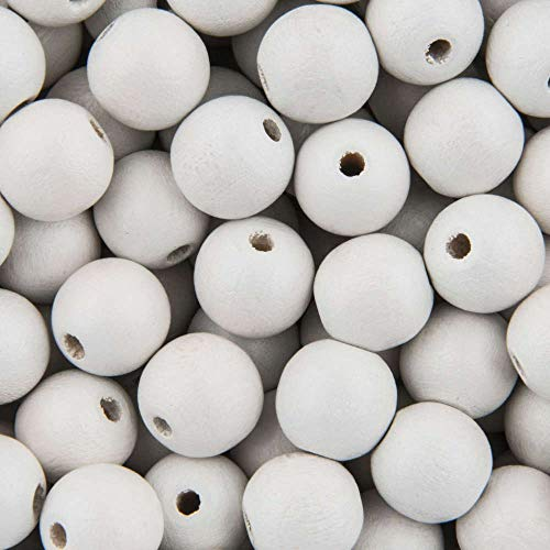 100 Painted White Natural Round Wood Beads 10mm