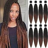 Ombre Brown Pre Stretched Hair Easy Braid Professional Braiding Hair Pre Stretched Expression Braiding Hair Hot Water Setting Synthetic Fiber Braids Hair Yaki Texture Braiding Hair 8 Packs