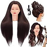 CZFY Cosmetology Mannequin Head with Synthetic Hair and Adjustable Stand 26-28' Blonde for Braiding Hair Styling Training Hairart Hairdressing Salon Display (Black)