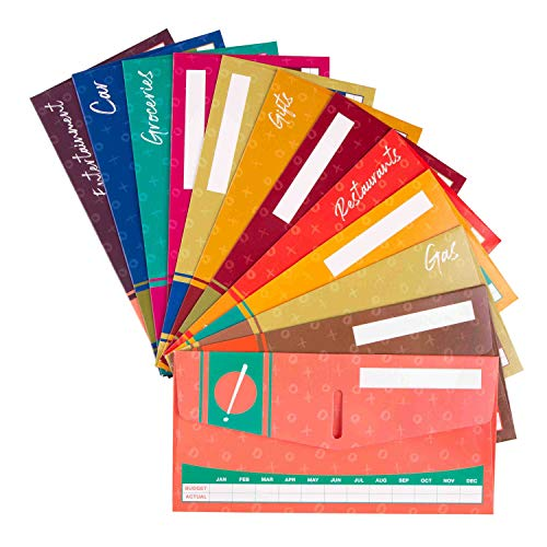 Cash Envelope System for Budgeting and Saving Money - Budget Keeper- 12 Pack Assorted Colors