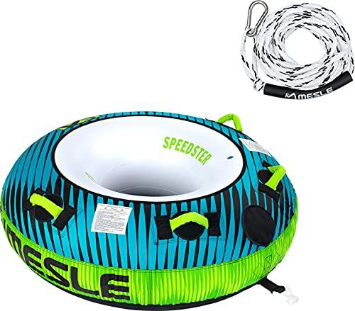 MESLE Tube Set Speedster 58\'\' mit Leine, 1 Person, aufblasbarer Schlepp-Reifen für Boot, Towable Donut Fun-Tube, für Kinder & Erwachsene, Inflatable Wasser-Ski Schlepp-Ring, für Jetski, Farbe:Petrol