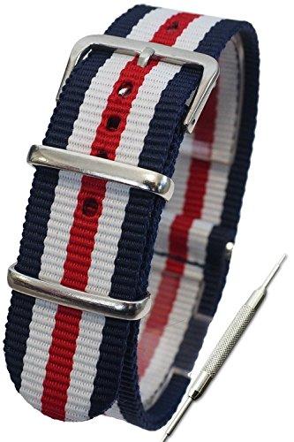 『【トリコロール ダブルストライプ 14mm】NATOタイプ ナイロン ベルト ストラップ 腕時計 11Straps【バネ棒外しセット】』のトップ画像