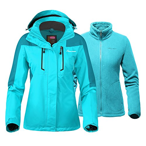 OutdoorMaster Women's 3-in-1 Ski Jacket - Winter Jacket Set with Fleece Liner Jacket & Hooded Waterproof Shell - for Women (Turquoise,S)