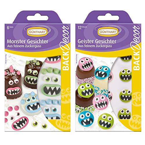 1 BackDecor Monster Set | aus Zucker | Monster Gesichter | Geister | Cupcake Monster | Tortendeko Monster | essbar