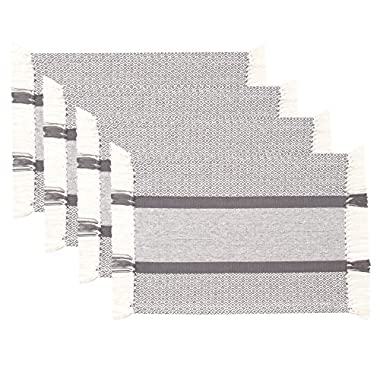 Sticky Toffee Cotton Woven Placemat Set with Fringe, Traditional Diamond, 4 Pack, Gray, 14 in x 19 in